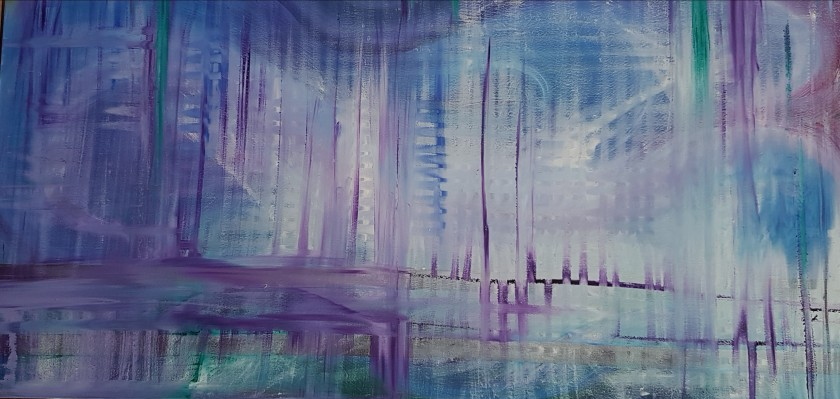 Abstract purple & blue oil painting, JoVincentArt