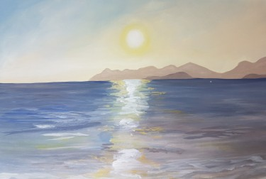 Turkish sunset, beach scene, seascape orginal acrylic painting 1 JoVincentArt