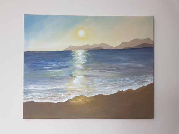 Turkish sunset, beach scene, seascape orginal acrylic painting 3 JoVincentArt