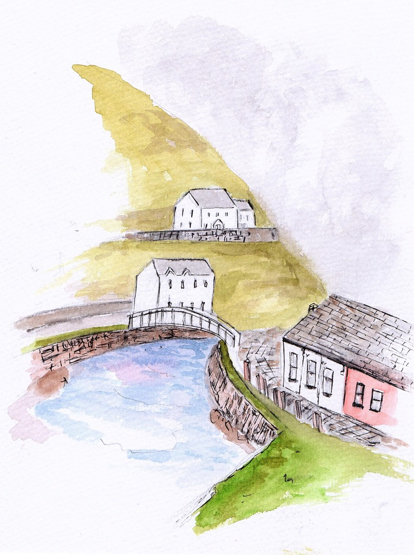 Boscastle Cornwall, watercolour & ink  painting, JoVincentArt2018